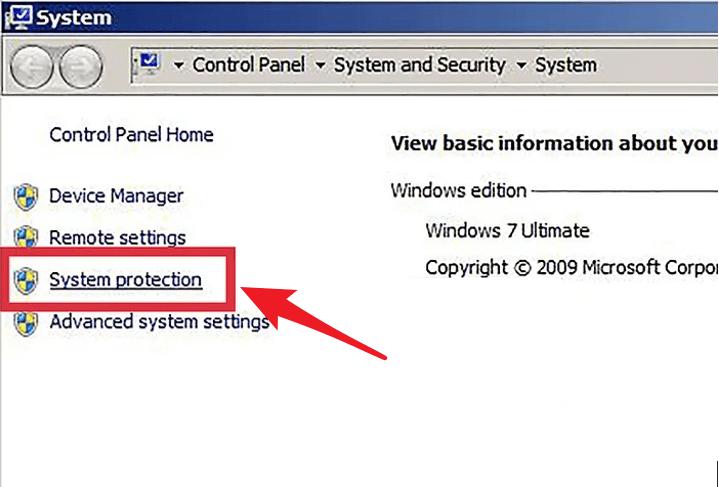 windows 7 create restore point