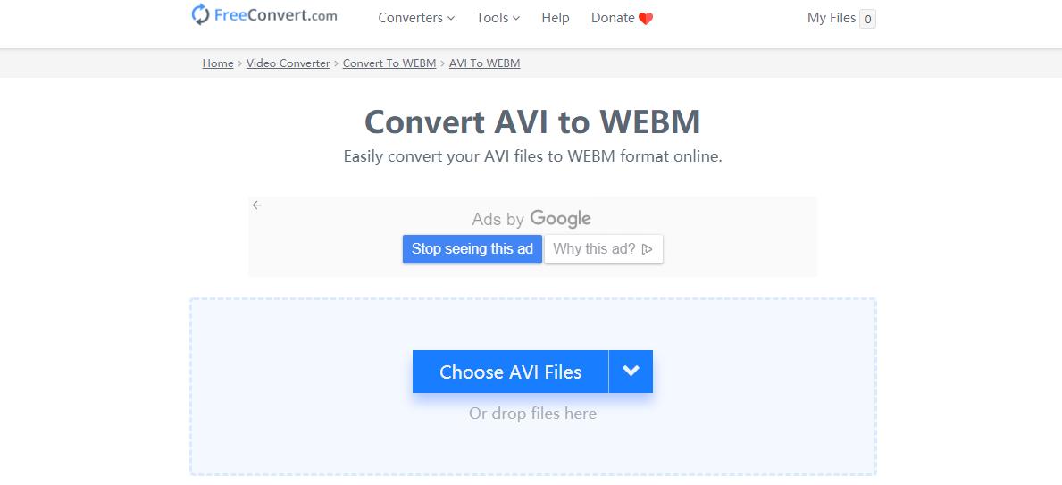 convert avi to webm on freeconvertcom