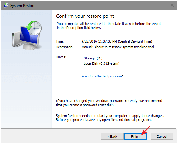 confirm the restore point