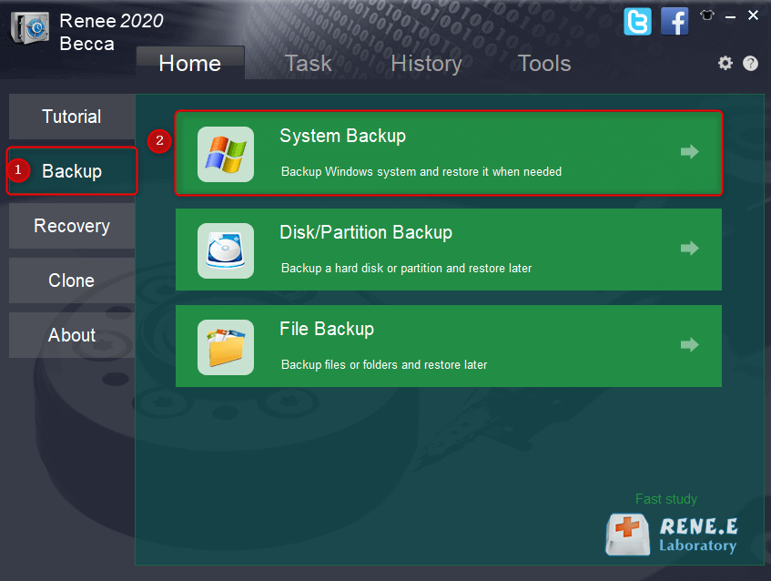 select a backup function you want