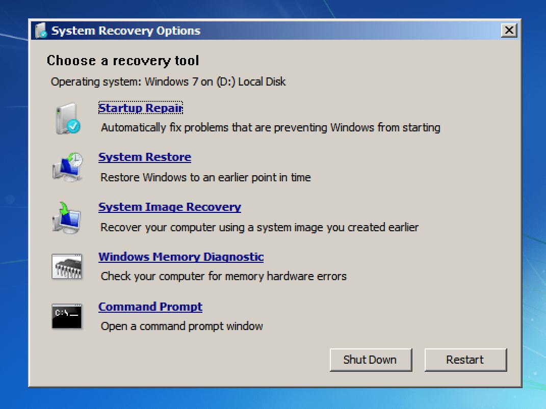 fix windows 7 when laptop won't turn on