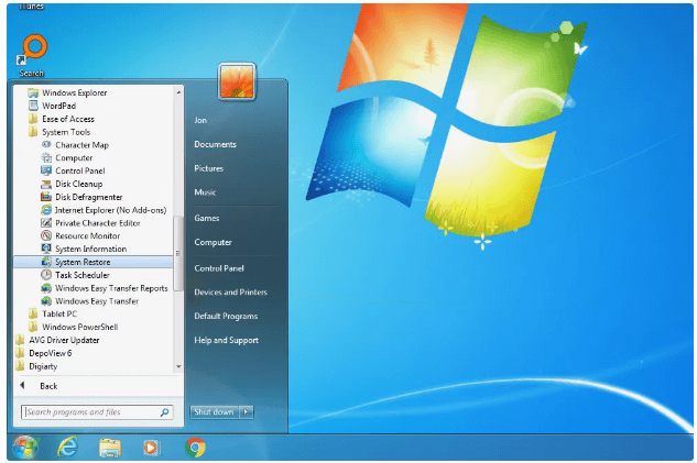 search system restore to restore windows 7