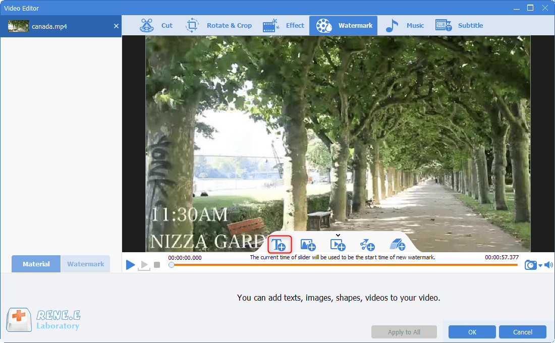 add text watermark with renee video editor pro