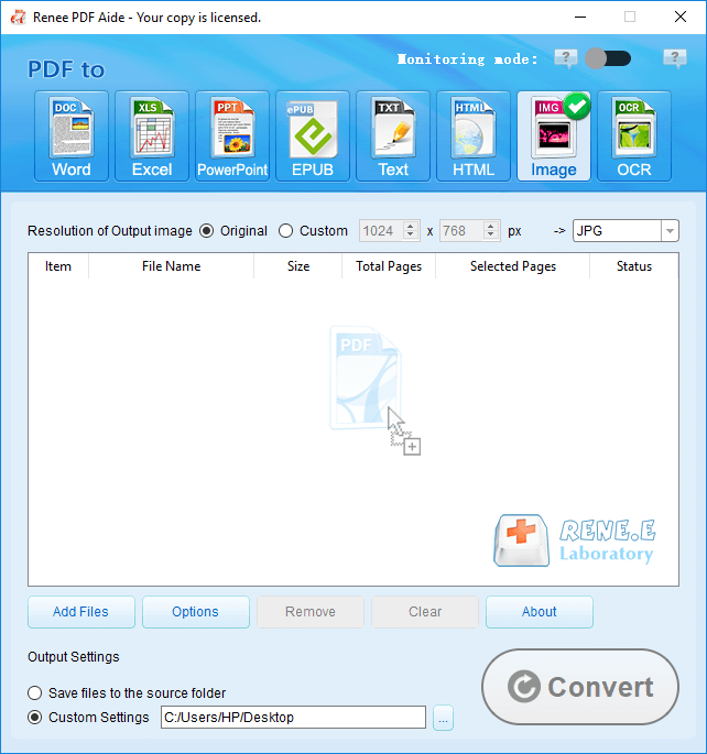 how to convert pdf to jpg on windows 10 with renee pdf aide
