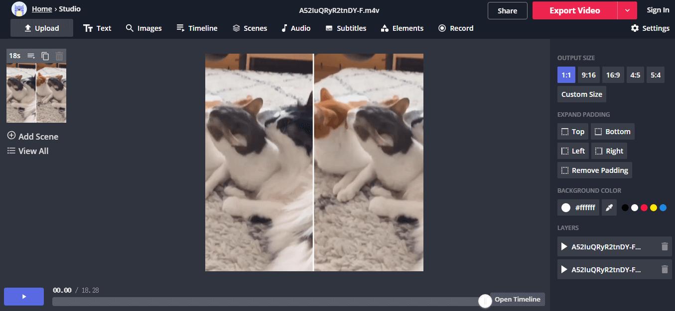 use kapwing to split video scren online