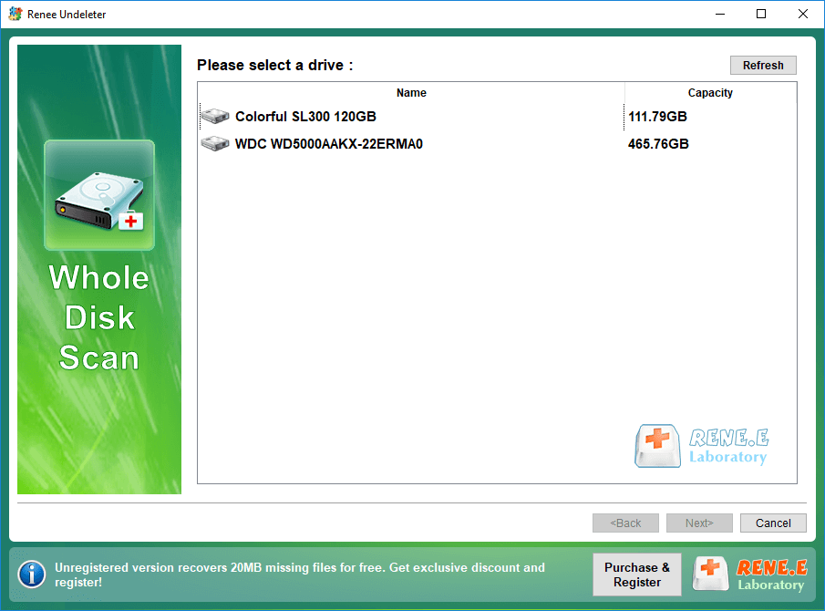 select a disk to recover in renee undeleter