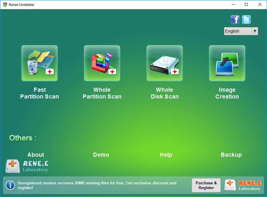 select whole disk scan in renee undeleter